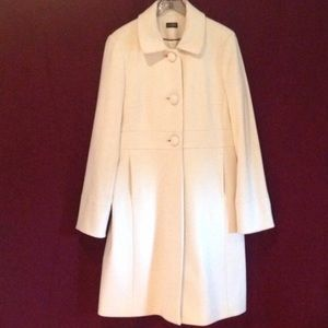 J. Crew Wool Winter White/Cream Dress Coat, Size 6